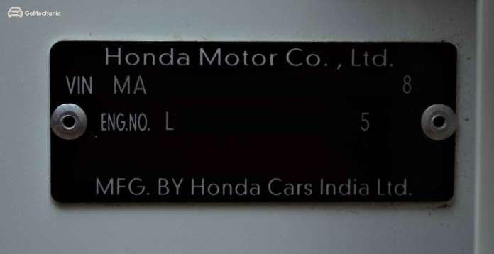 VIN & Engine Number on a Car