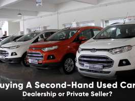 second hand used car dealership or private seller