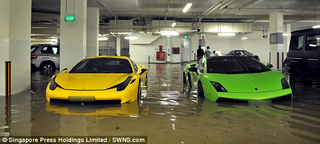 Lamborghini Gallardo and Ferrari 458 Italia submerged in flood water
