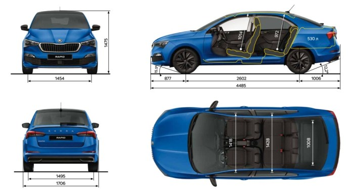 Russian Skoda Rapid Dimensions