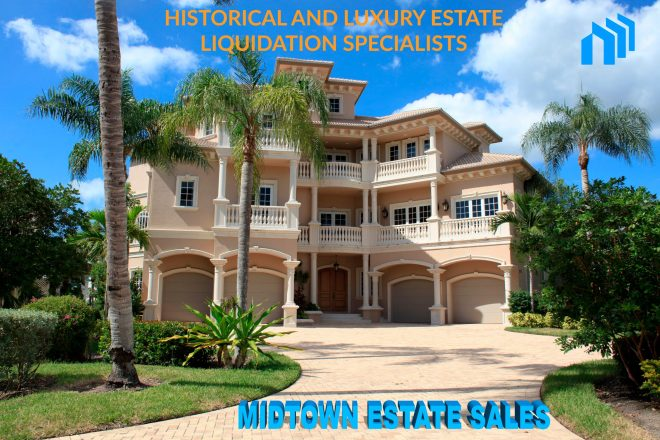 The front of A small Florida mansion about to be liquidated by Midtown Estate Sales