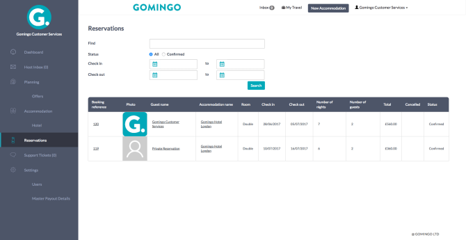 Gomingo Reservation Dashboard