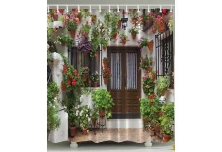 mediterranean garden shower curtain
