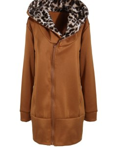 Leopard Hooded Zipper Coat