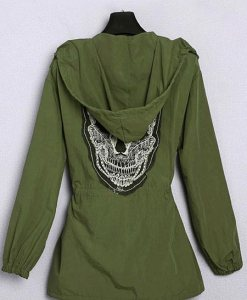 Button Big Skull Hooded Army Green Windbreaker