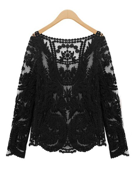 Sexy Sheer Sleeve Embroidery Floral Lace Crochet T-Shirt Top