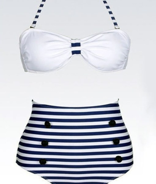 High Waisted Vintage Cross Stripe Six Buttons Swimsuit For Women