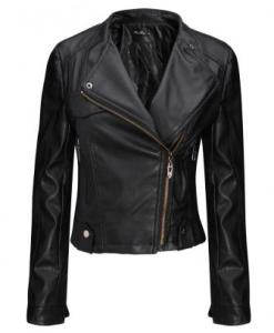 Cool-Black Zipper PU Leather Bomber Jacket