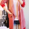 Stylish Loose Fitting Large Collar Stripe Long Sleeve Knitting Cardigan for Women