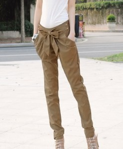 Women Casual Slim OL Bowknot Harlan Long Pants