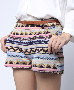 Vintage Retro Geometric Linen Short Pants