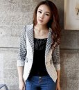 Turn-Down Collar Lace Small Square Grid Jacket