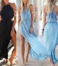 High Slit Side Design Sleeveless Round Collar Drawstring Off The Shoulder Dress