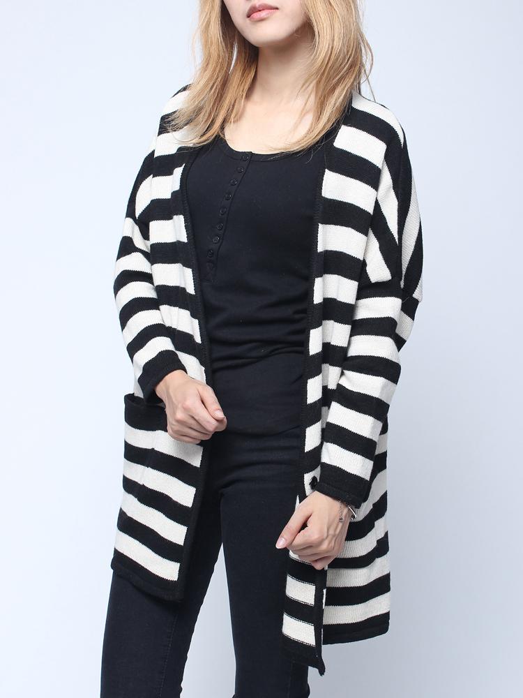 d4543a131a Raglan Sleeve Black White Stripe long Cardigan – GonChas