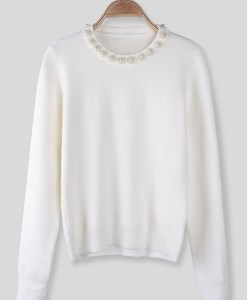 Women Round Collar Pullover Long Sleeve Knitted Sweater
