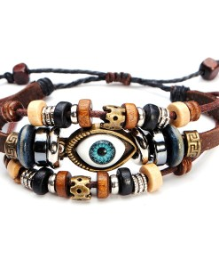 Retro Multilayer Genuine Leather Eye Eyeball Bracelet Adjustable