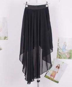 Stylish Irregular Design High-Low Good Quality Chiffon Skirt For Women