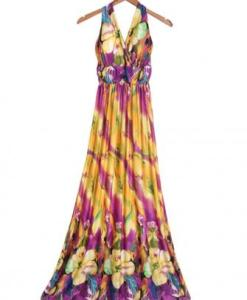 Bohemian Halter V-neck Maxi Dress