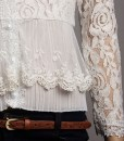 Hollow Out Crochet Lace Knit Blouse V-neck Shirt
