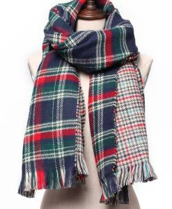 Casual Colorful Plaid Double Faced Knitted Tweed Scarf Shawl