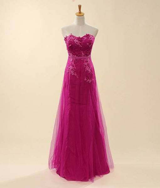 Bride Strapless Lace Floral Tube Rose Long Wedding Evening Dress