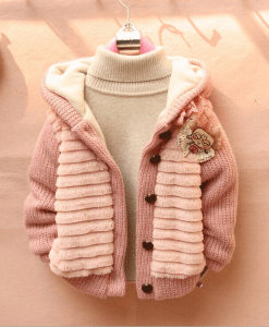 Girls Soft Pullover Cotton Sweater Cardigan Coat