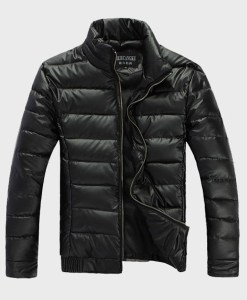Warm Casual Cotton-Padded Shiny PU Leather Outdoors Jacket