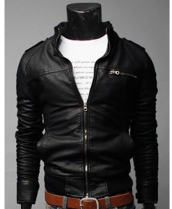 Slim Casual Faux Leather Zipper Motorcycle Jacket