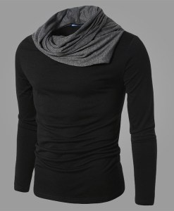 Slim Collar Fashion Leisure 2 colors Long Sleeve T-shirt