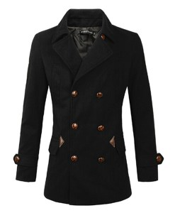 Windbreaker Coat Lapel Double-breasted Slim Woolen Jacket