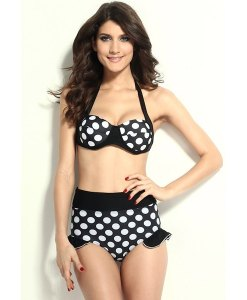 High Waisted Vintage Halterneck Polka Dot Print Ruffles Women's Bikini Swimsuit