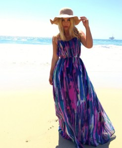 Watercolor Print Summer Maxi