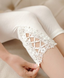 Triangle Lace Hollow Out Stretch Cotton Legging