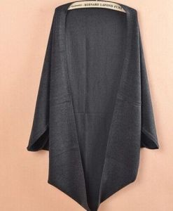 Loose Shawl Batwing Sleeves Knit Woolen Cardigan