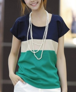 Spell Color Loose Chiffon Short Sleeve T-shirt