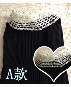 Turn-down Collar Pearl Patchwork Sweater With Beads