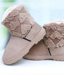Woolen Lace Double Layers Thick Crust Snow Boots