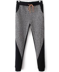 Long Grey Black Mid Drawstring Waist Trousers