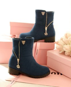 Flat Zip Chains Square Heel Boots