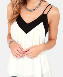 V-Neck Sleeveless Halter Blouse Shirt