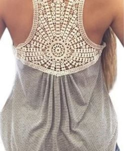 Stylish Lace Splicing Striped Tank Top For Women