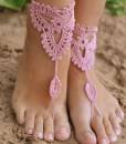 Crochet Tan Barefoot Sandals, Nude shoes, Foot jewelry, Wedding, Victorian Lace, Sexy, Yoga, Anklet, Bellydance, Steampunk, Beach Pool