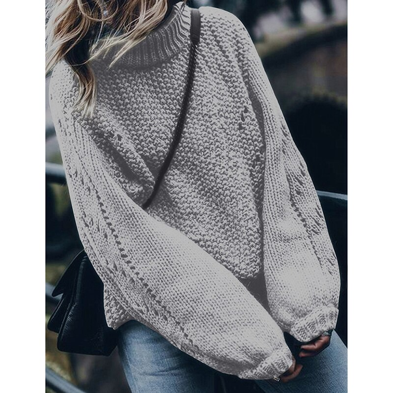 Turtleneck Knitted Tricot Women Sweater