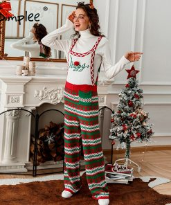 Sleeveless High Waist Geometry Knitted Jumpsuit Christmas 2020
