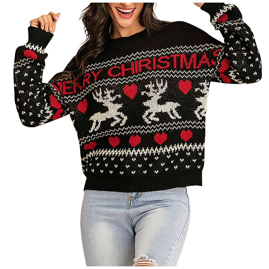 Knitting Loose Merry Christmas Sweater Winter Christmas 2020