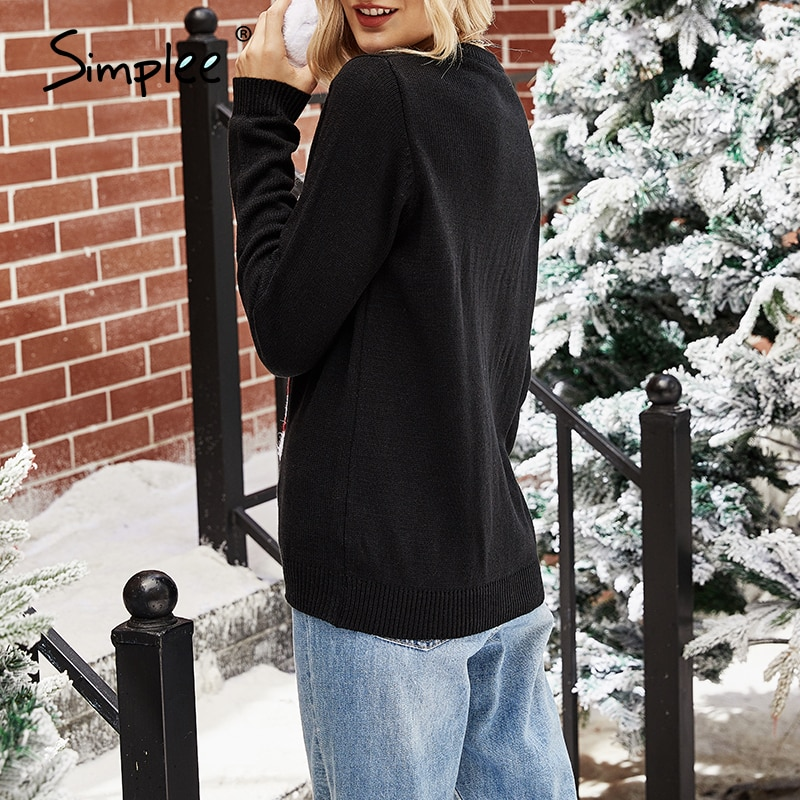Crew Neck Long Sleeves Women Knitted Warmth Pullovers Christmas 2020