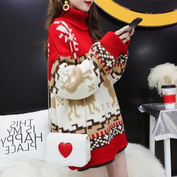 Korean Loose High-Necked Hedging Sweater Christmas 2020