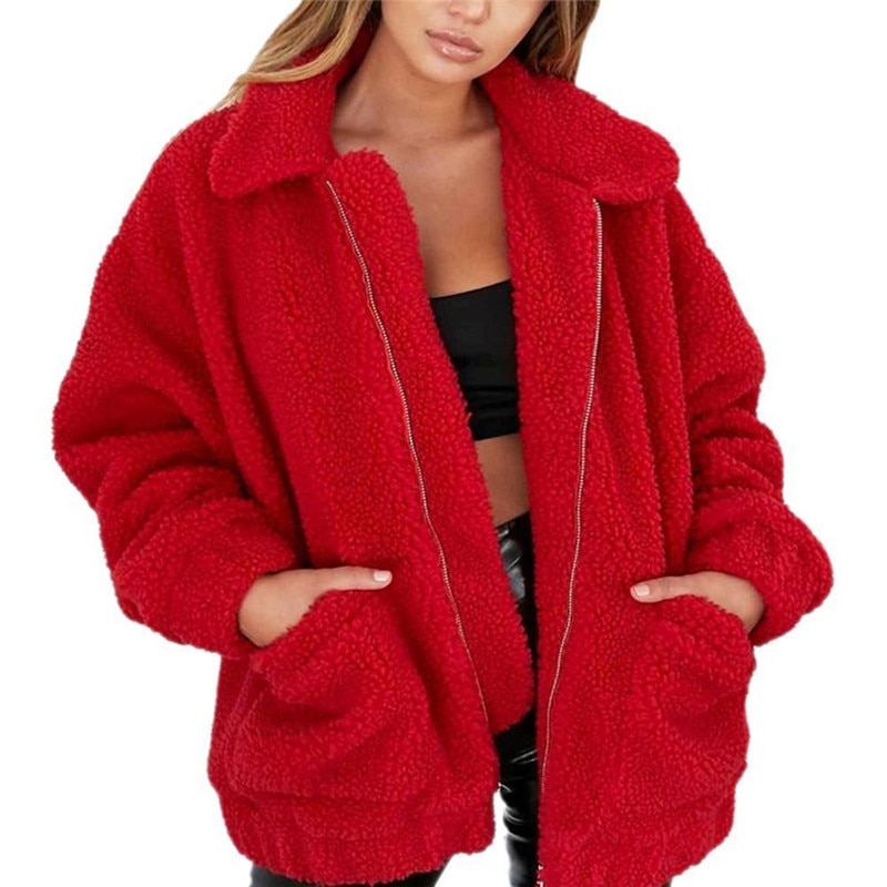 Faux Fur Warm Soft Zipper Fur Plush Cardigan