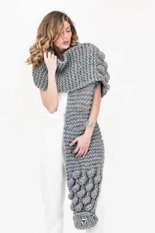 Lantern Sleeve Open Front Knitted Cardigan Winter