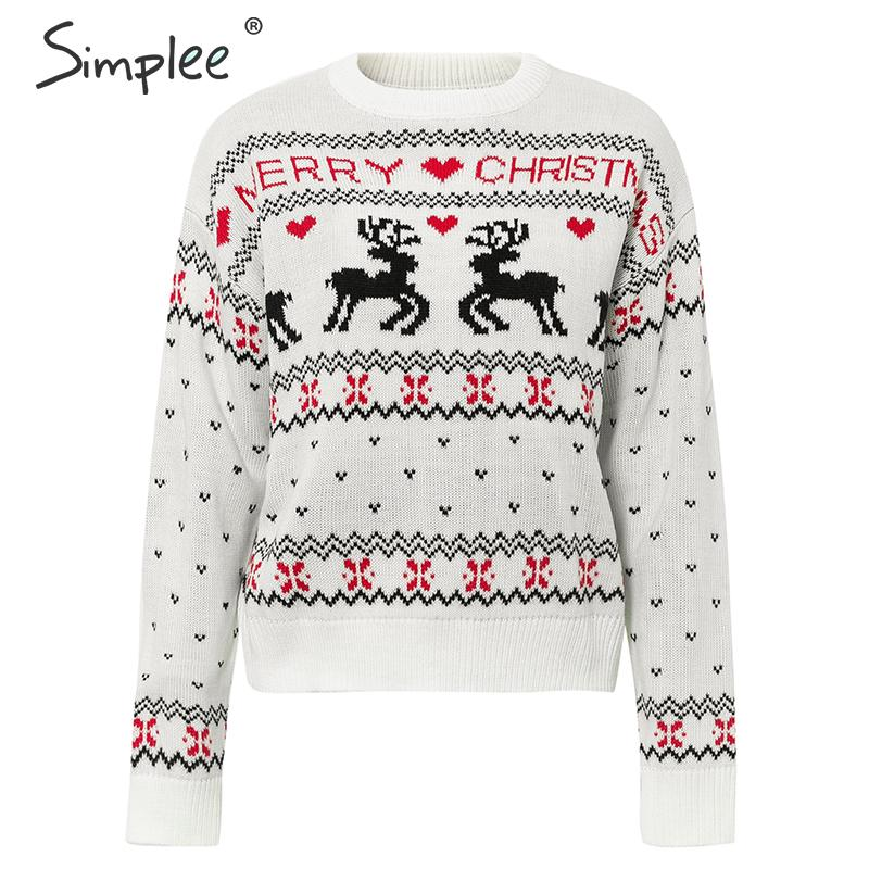 Deer Print Knitted Long Sleeve O-Neck Pullover Christmas 2020